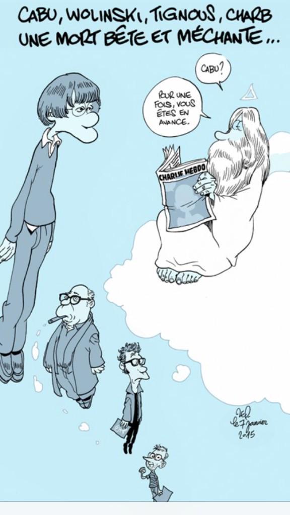 Adieu Cabu, Wolinski, Tignous, Charb...le dessin de Zep. N'arrêtez jamais de dessiner.
