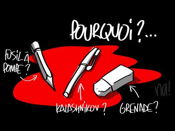 Hommage de notre dessinateur @na_dessinateur aux victimes de #CharlieHebdo