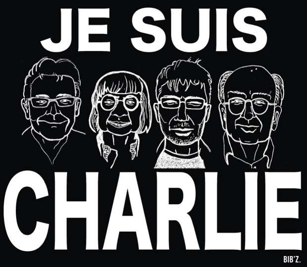 They Are Charlie: a tribute to cartoonists Bernard Verlhac aka Tignous, Jean Cabut aka Cabu, Stéphane Charbonnier aka Charb and Georges Wolinski by French artist Bib'z.