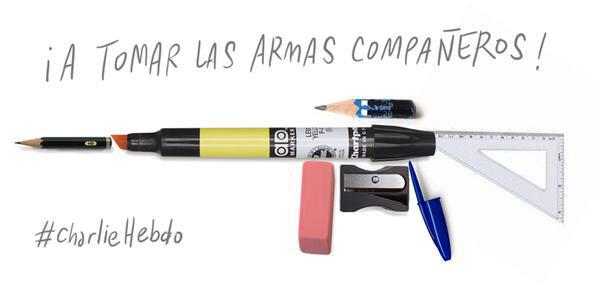 "Spanish cartoonists are sharing this image with the message: ""To arms, companions!"""