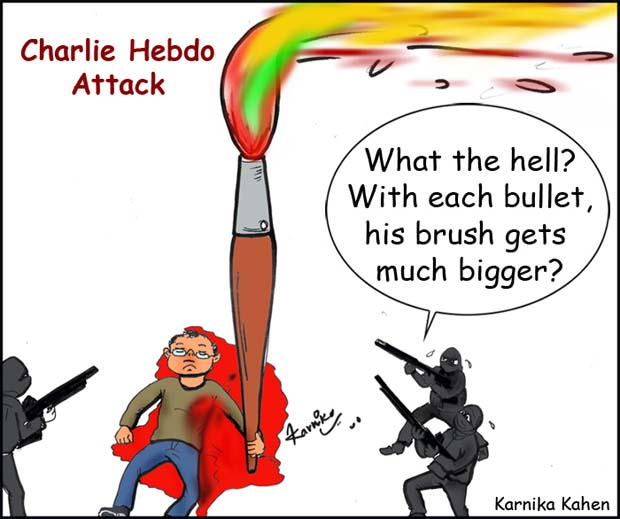 Indian cartoonist Kanika Mishra showing solidarity with Charlie Hebdo