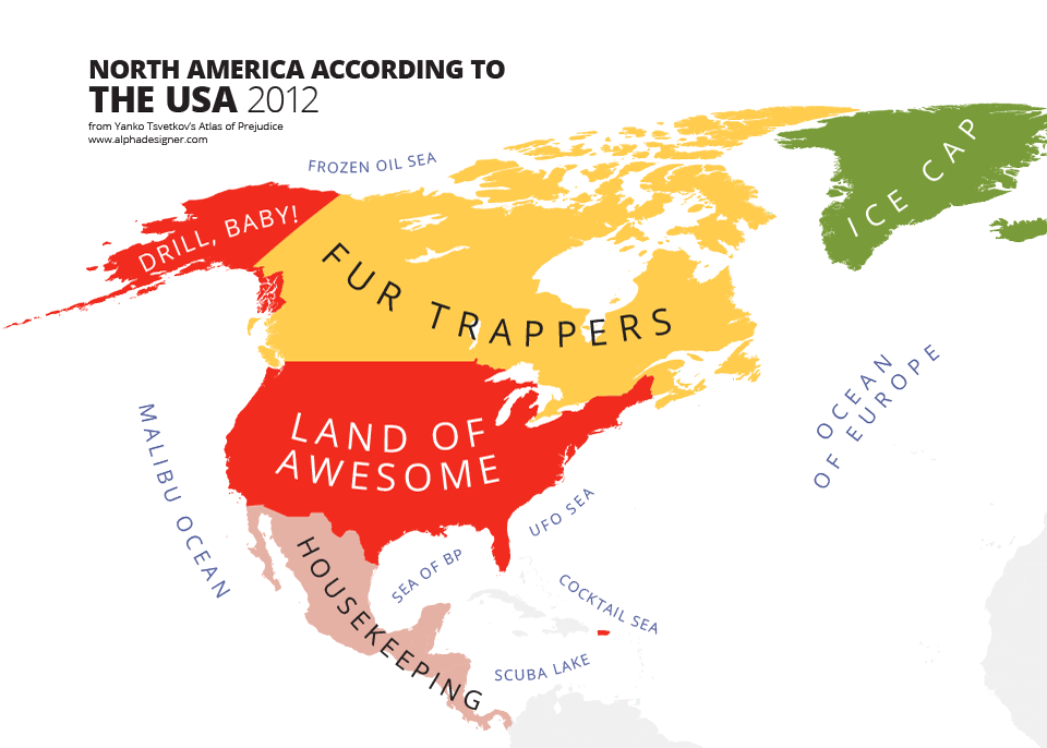 How America Sees The World Map.Mapping Stereotypes Of Yanko Tsvetkov