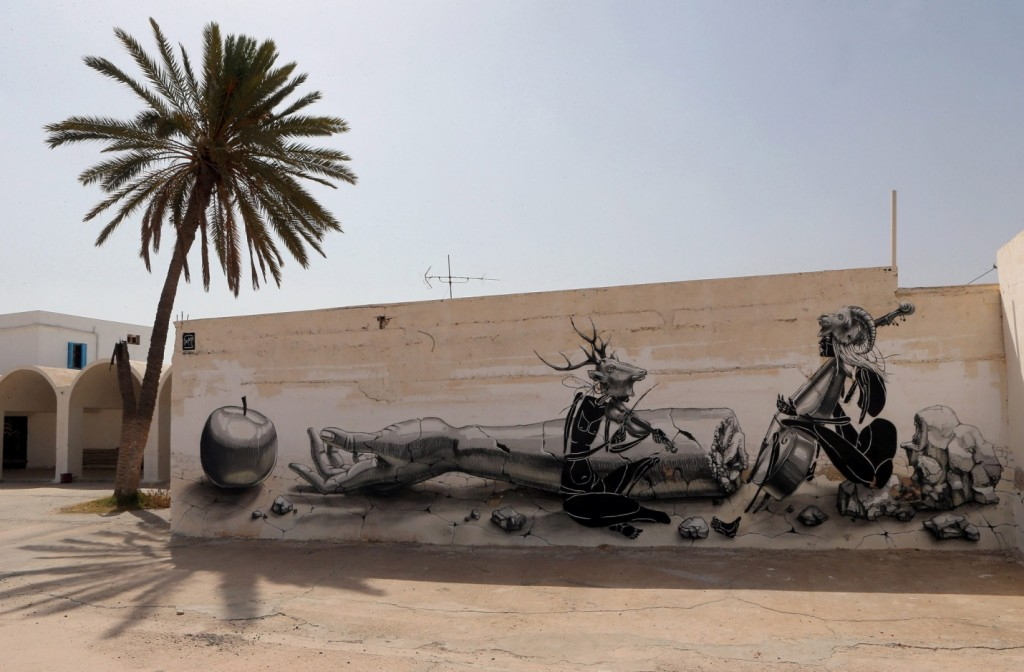 A mural by German artist Dome. Photograph: Mohamed Messara/EPA