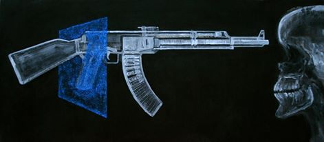 The transparent shooter 160x70 cm Mixed media on canvas By Fadi al-Hamwi