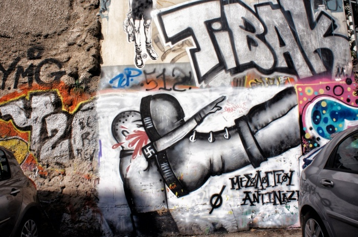 A recurring theme in contemporary graffiti on the streets of Athens is one of economic repression and class strife