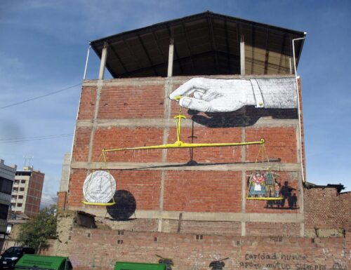 Blu paints a new piece in Sucre, Bolivia