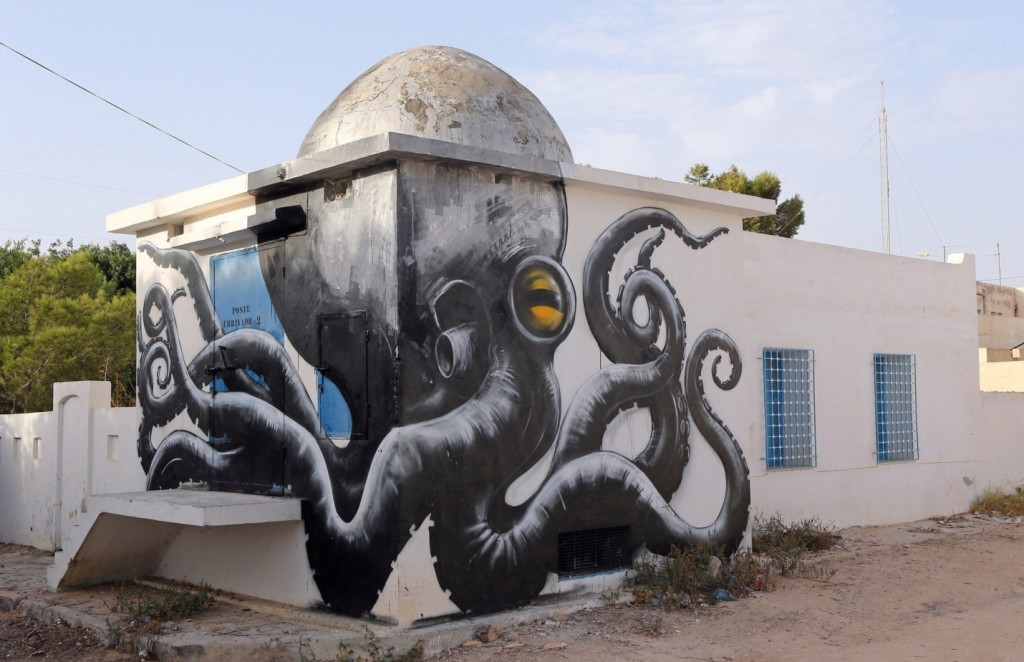 A mural by Belgian artist ROA is part of the street art project 'Djerbahood'. Photograph: Mohamed Messara/EPA