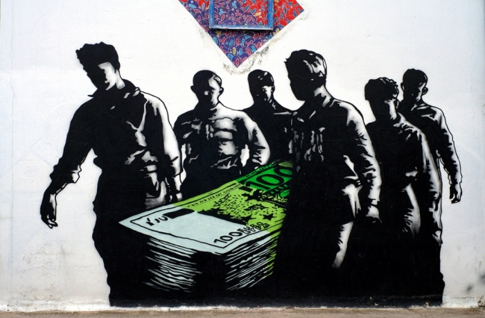 This piece depicts a casualty of Greece's current economic fortune, a feeling shared by many of the artists whose work adorns the walls of the city