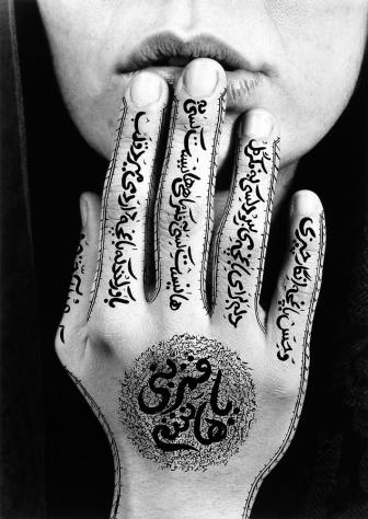 "Shirin Neshat, Untitled, ""Women of Allah"" series, 1996, RC print and ink. Photo by Larry Barns. By Art Radar"