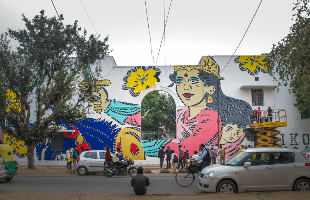 Lady Aiko's work at Lodhi Colony depicts Rani Lakshmibai, one of the most powerful female leaders in Indian history, as a symbol of women's growing empowerment in the country Photograph: Akshat Nauriyal (By The Guardian)