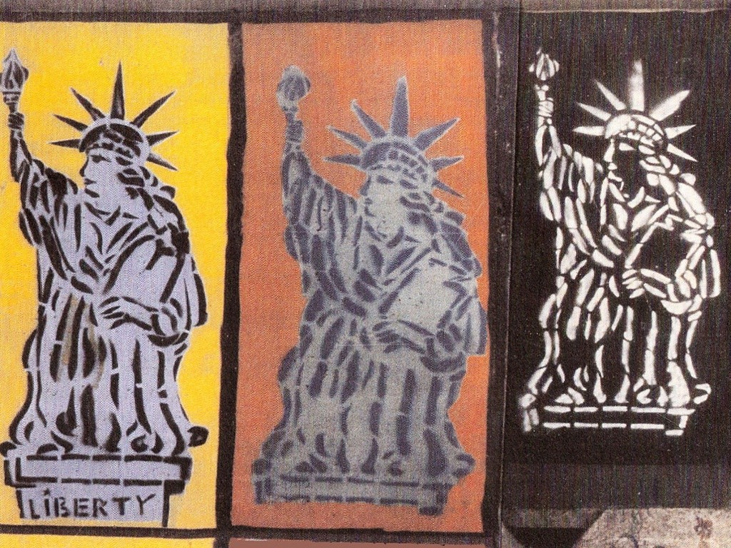 It was the 100th anniversary of the Statue of Liberty, so I found some spray cans and with Christophe Bouchet made a two-metre-high stencil. It was made from a plastic napkin fixed on a wooden frame. On the Fourth of July, we put up 42 Statues of Liberty on the Wall at Checkpoint Charlie. It was well guarded and dangerous to paint there. We did not have enough money for more spray paint to do more the next day. As David Bowie said in his 1982 song Heroes: 'You can be heroes, just for one day.'