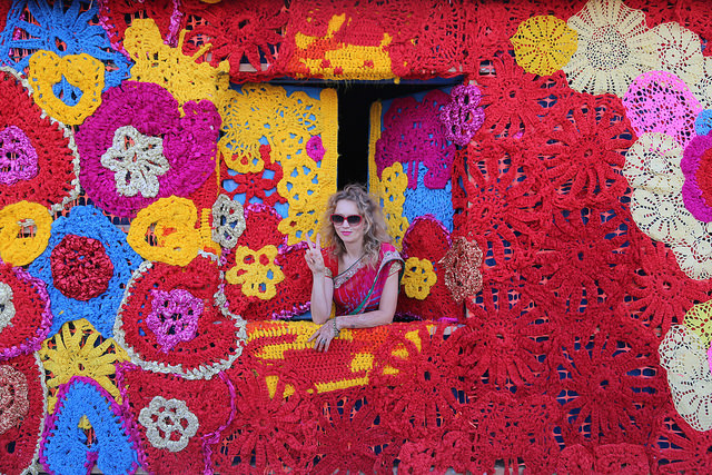 Olek Rain Basera Crocheted Yarn Installation in New Delhi