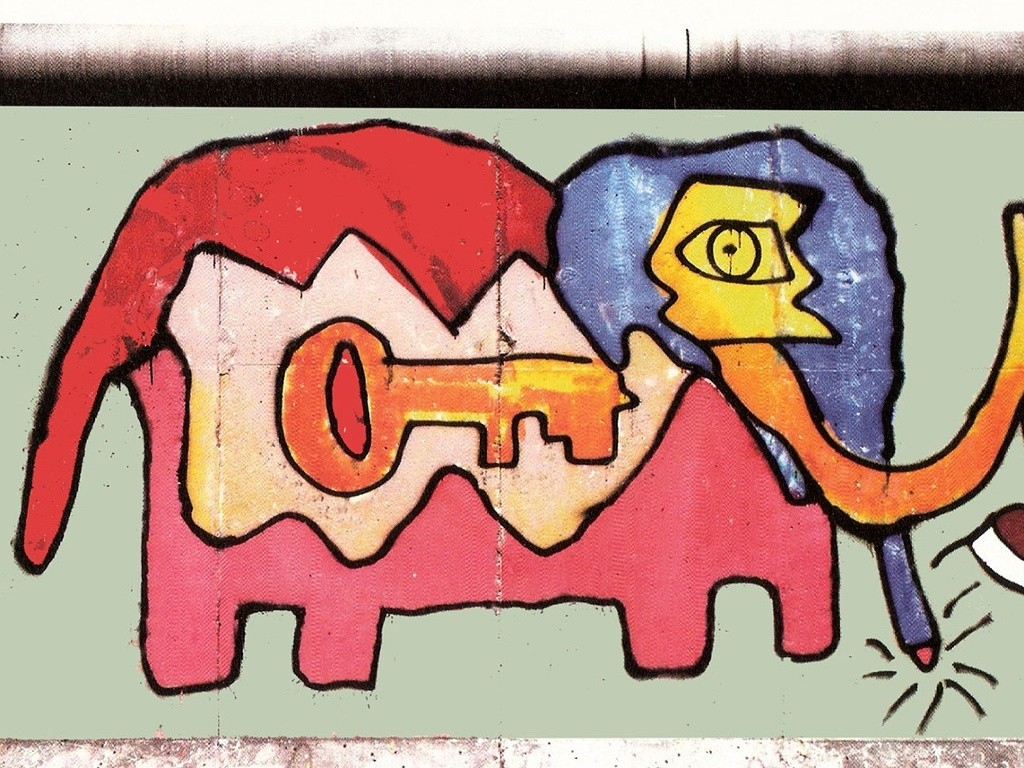 This elephant was one of my first paintings on the Berlin Wall. I started painting outside because I wanted to say that it's good to put art in the streets and not solely in museums and galleries. At the time my influences were everyone from Pablo Picasso and Joan Miro to Jean-Michel Basquiat and Keith Haring, plus musicians like David Bowie, Iggy Pop, Lou Reed, Kraftwerk, Led Zeppelin and Nina Hagen. This painting represented the key to success – heavy work every day. If you wait at home for inspiration, you can wait a very long time.