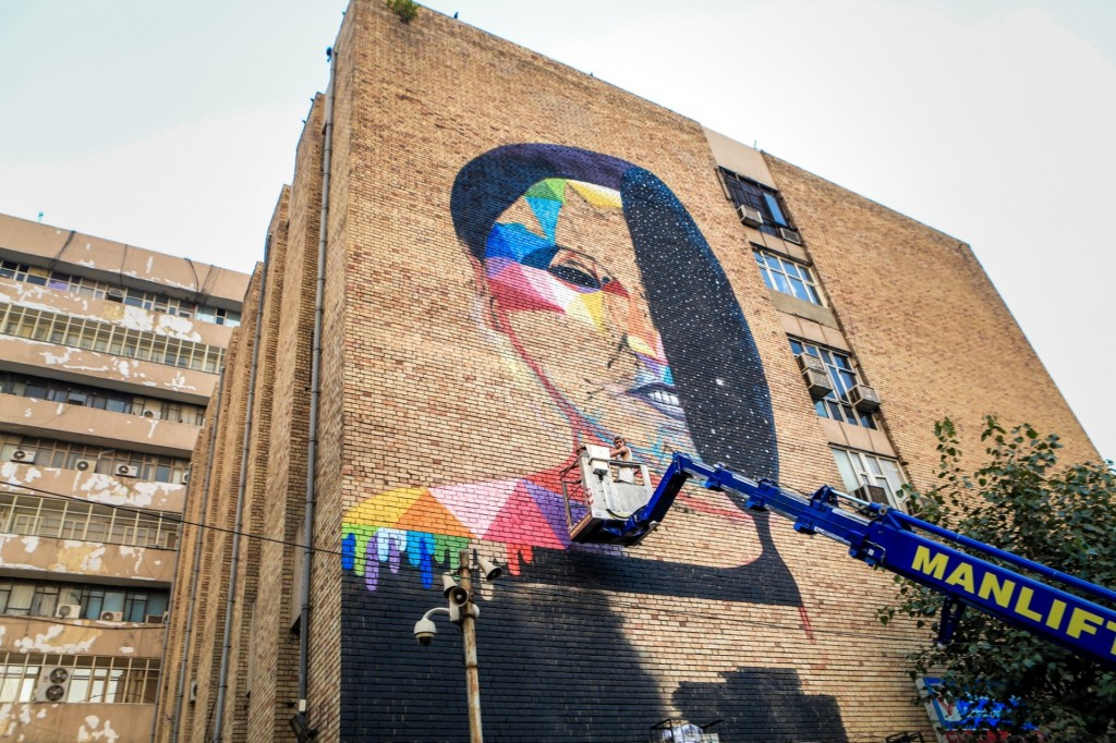 Day & Night, You & You, by the Spanish artist Okuda Photograph: Akshat Nauriyal (By The Guardian)